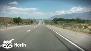 Driving U.S. Route 395 North through California State from Lone Pine. Time Lapse