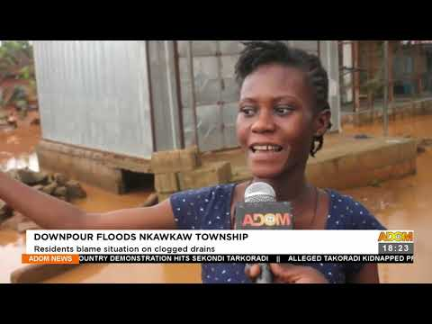Downpour Floods Nkawkaw Township: Residents blame situation on clogged drains (22-9-21)