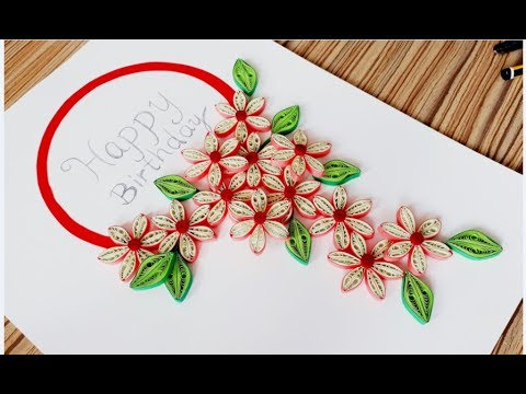 DIY Paper quilling Flower Card Design 30 // Quilling flower card // Greeting Card