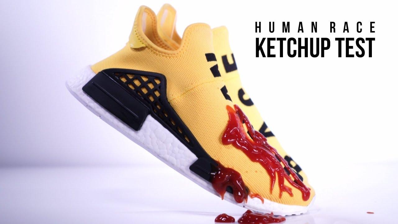 bdafd3dbb Pharrell x adidas Human Race NMD Ketchup Test! Crep Protect - YouTube