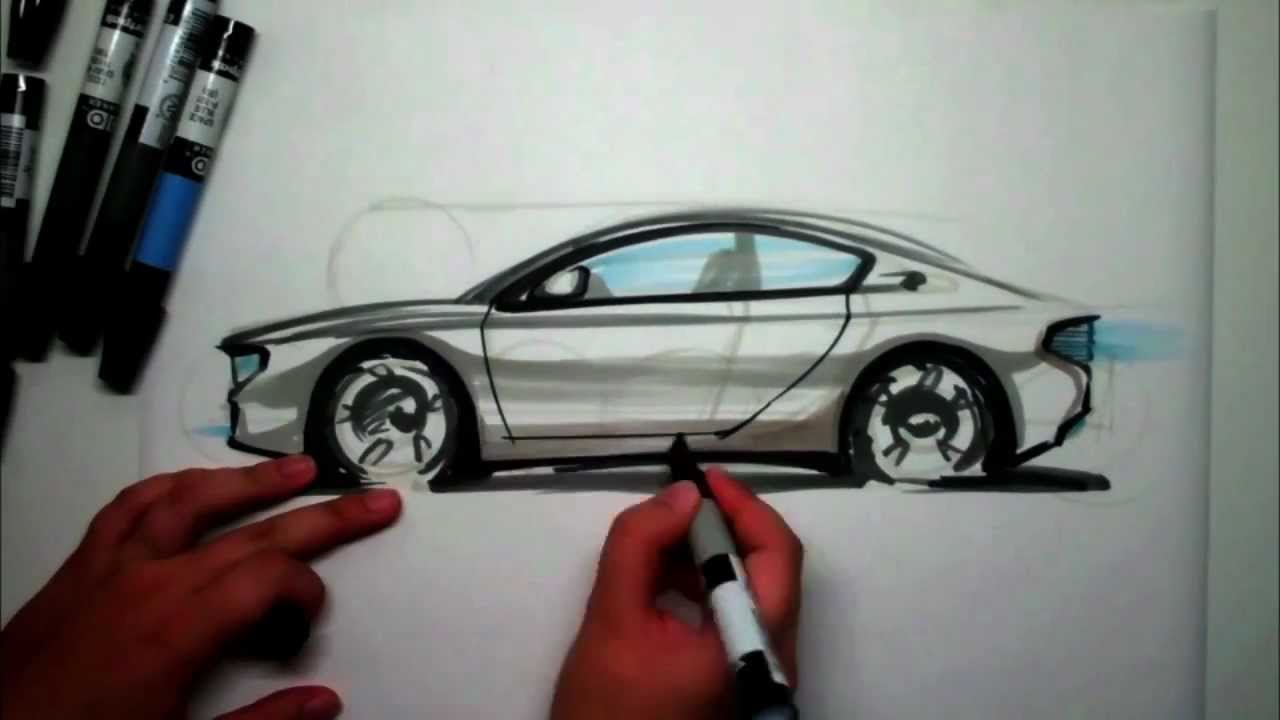 How To Sketch A Sports Car Side View Using Markers Youtube