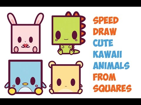 Speed Drawing Cute Kawaii Animals Characters From Squares Easy