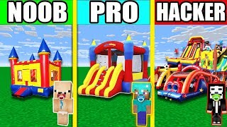 Minecraft NOOB vs PRO vs HACKER : Bouncy House and Bouncy Castle IN MINECRAFT! ANIMATION!