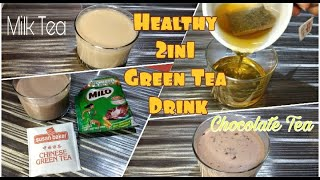 Healthy Green Tea Drink | 2in1 Instant Milk & Chocolate (Milo) Tea | Mey Mik