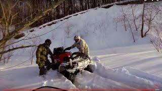 Снегоход BRP Tundra 550 LT + квадроцикл CF MOTO X8 по снегу зимой(Зимняя покатушка на снегоходе BRP Tundra 550 LT c квадроциклом CF Moto X8., 2015-01-17T20:38:33.000Z)