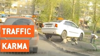 Karma For Car Trying to Bypass Traffic | Instant Karma