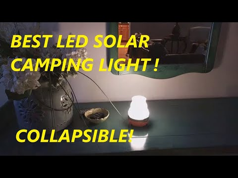 ECEEN Solar Camping Lights Collapsible & Rainproof USB Flashlight with Hanging Handle