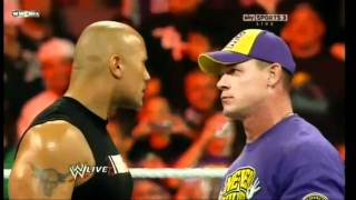 raw: the rock vs cena vs miz