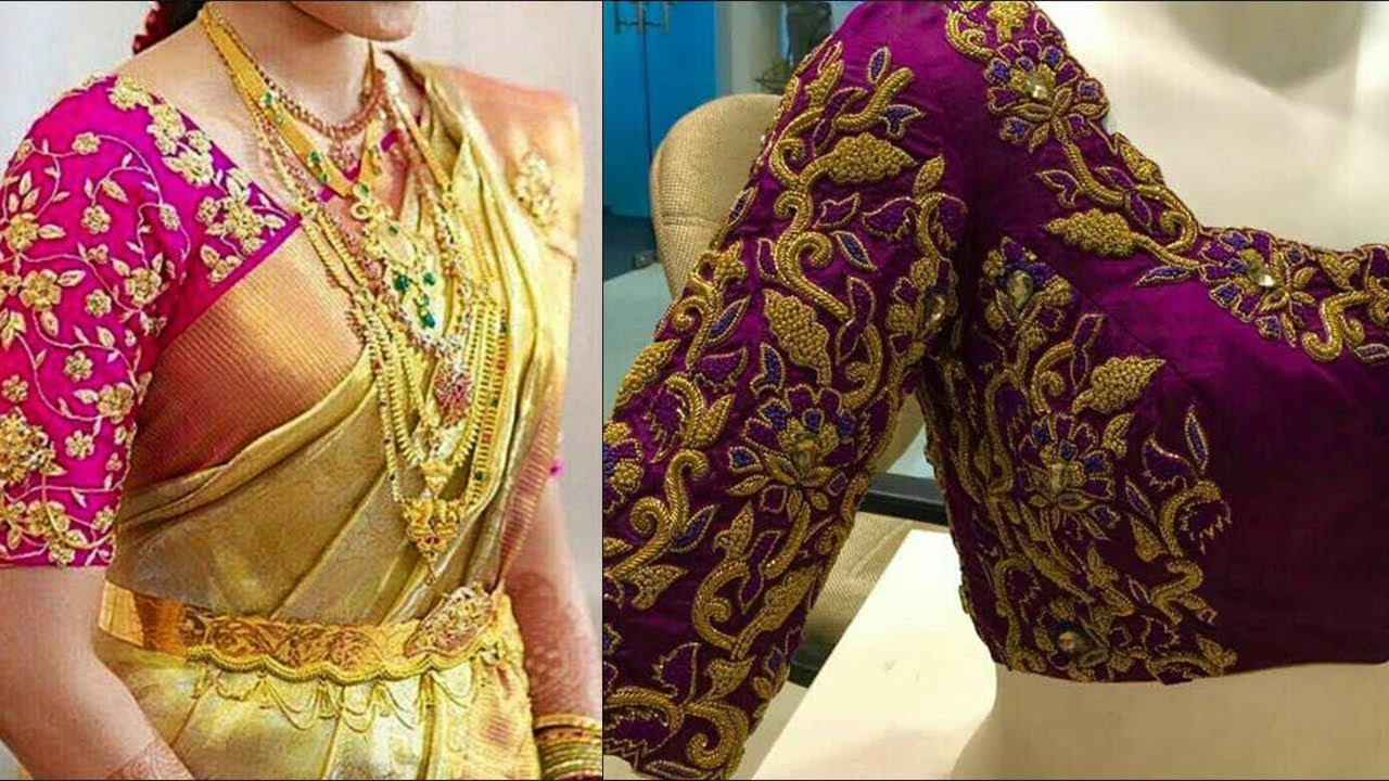 Gold Thread Work Blouse Design Ideas Latest Gold Thread Blouses