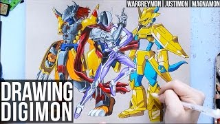 Drawing Digimon | Wargreymon, Justimon & Magnamon