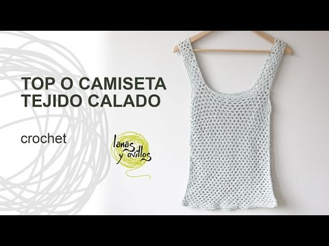 fa24852a0 Tutorial Top o Camiseta de Verano Calada a Crochet o Ganchillo