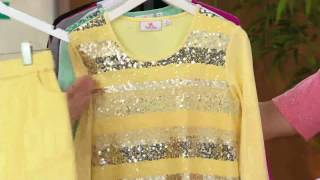 Quacker Factory Sequin and Lace 3/4 Sleeve Knit Top on QVC