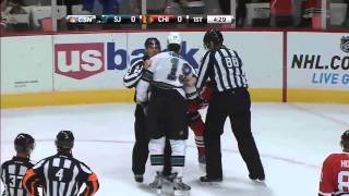 Jonathan Toews vs Joe Thornton fight. Feb 15th 2013