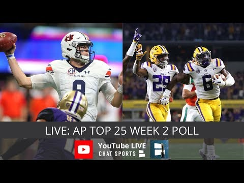 Ap Poll Week 2 Top 25 Teams Released College Football Youtube