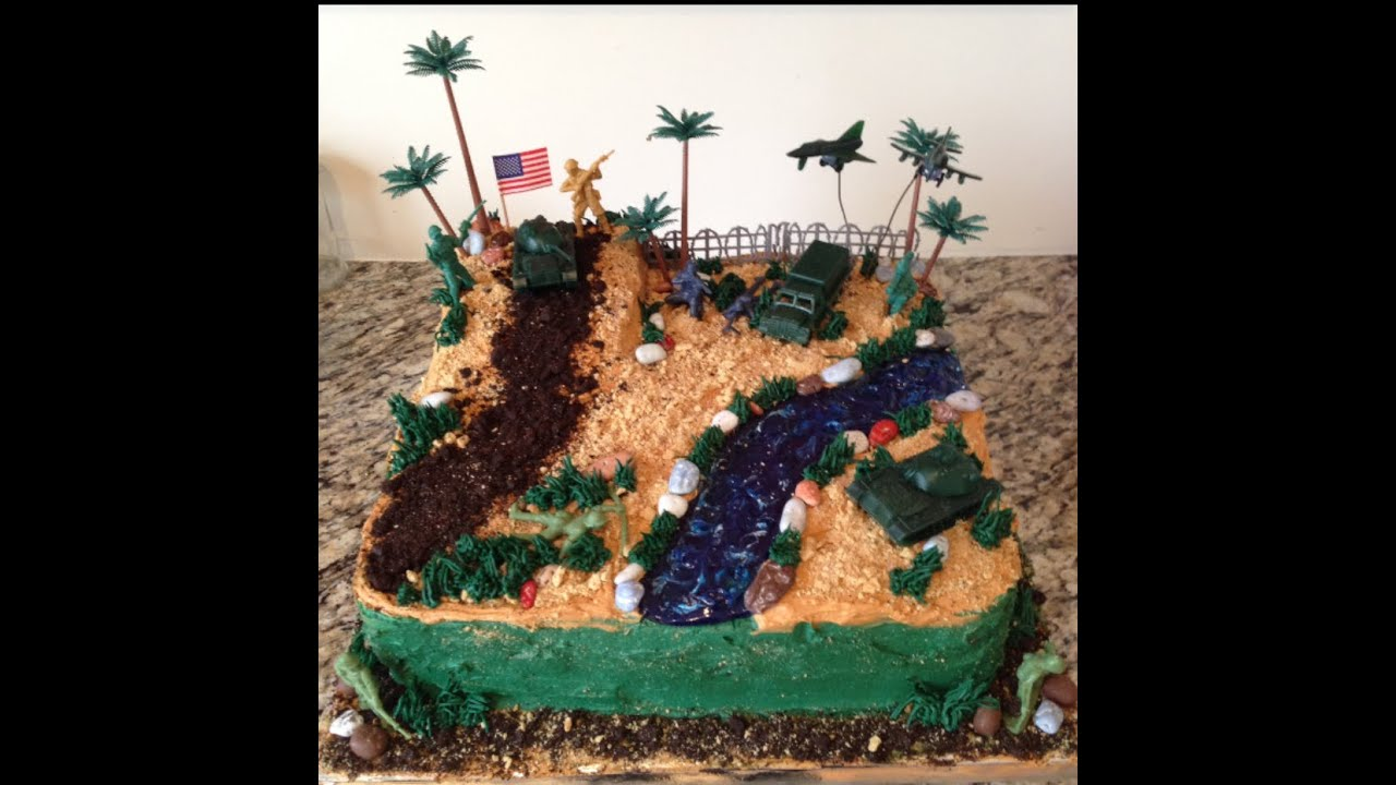 Army Soldier Desert Combat Birthday Buttercream Cake YouTube
