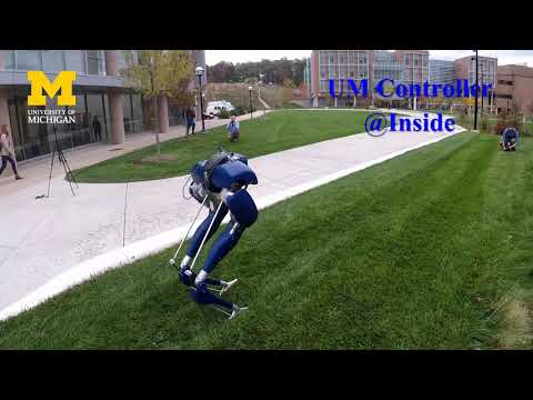 Cassie Blue walking on campus using our own controllers