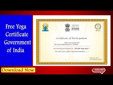 Free Yoga Certificate Government of India घर बैठे कैसे प्राप्त करे योगा सर्टिफिकेट