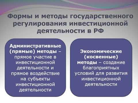 1.4 Формы и методы государственного регулирования инвестиционной деятельности