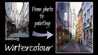 Sketch and paint this beautiful street scene from Salzburg. Step-by-step instruction. Free photo.