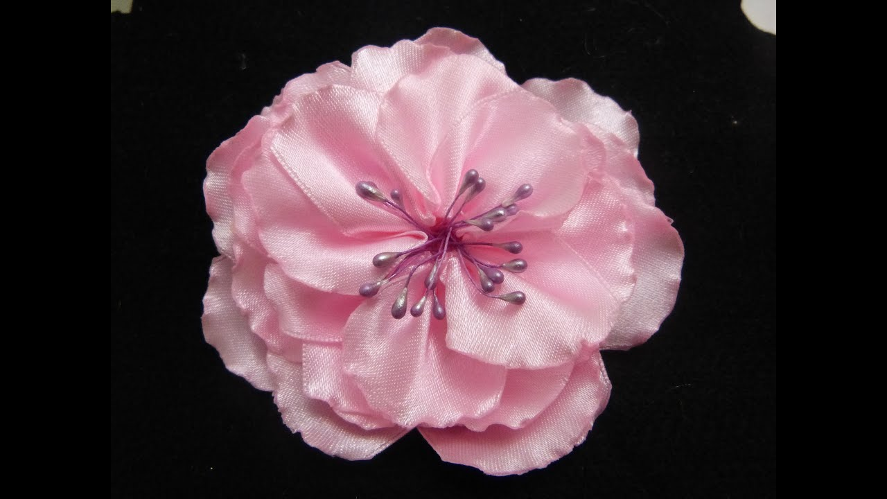 Tutorial Flor Grande  Para el Cabello, How to Make Beautiful Flowers with Ribbon