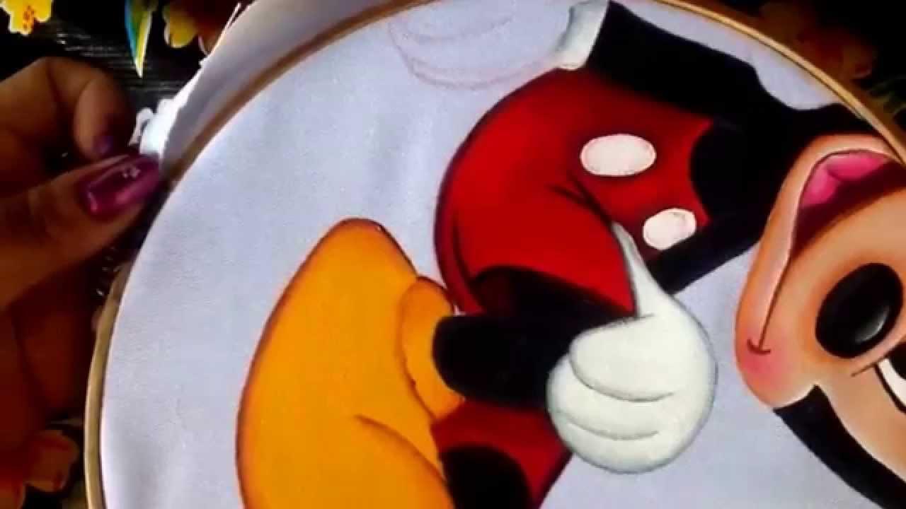 Pintura en tela cojn de corazn mickey  3 con cony  YouTube