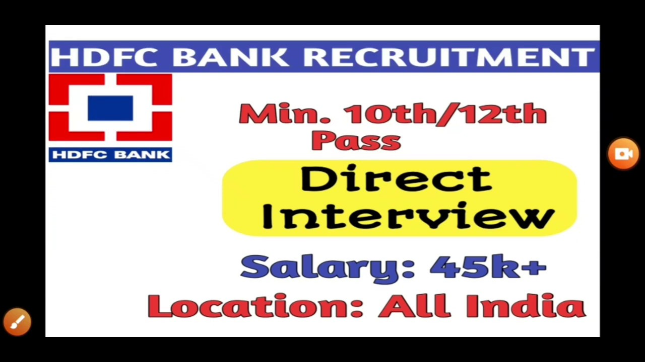 job vacancy in hdfc bank 2013