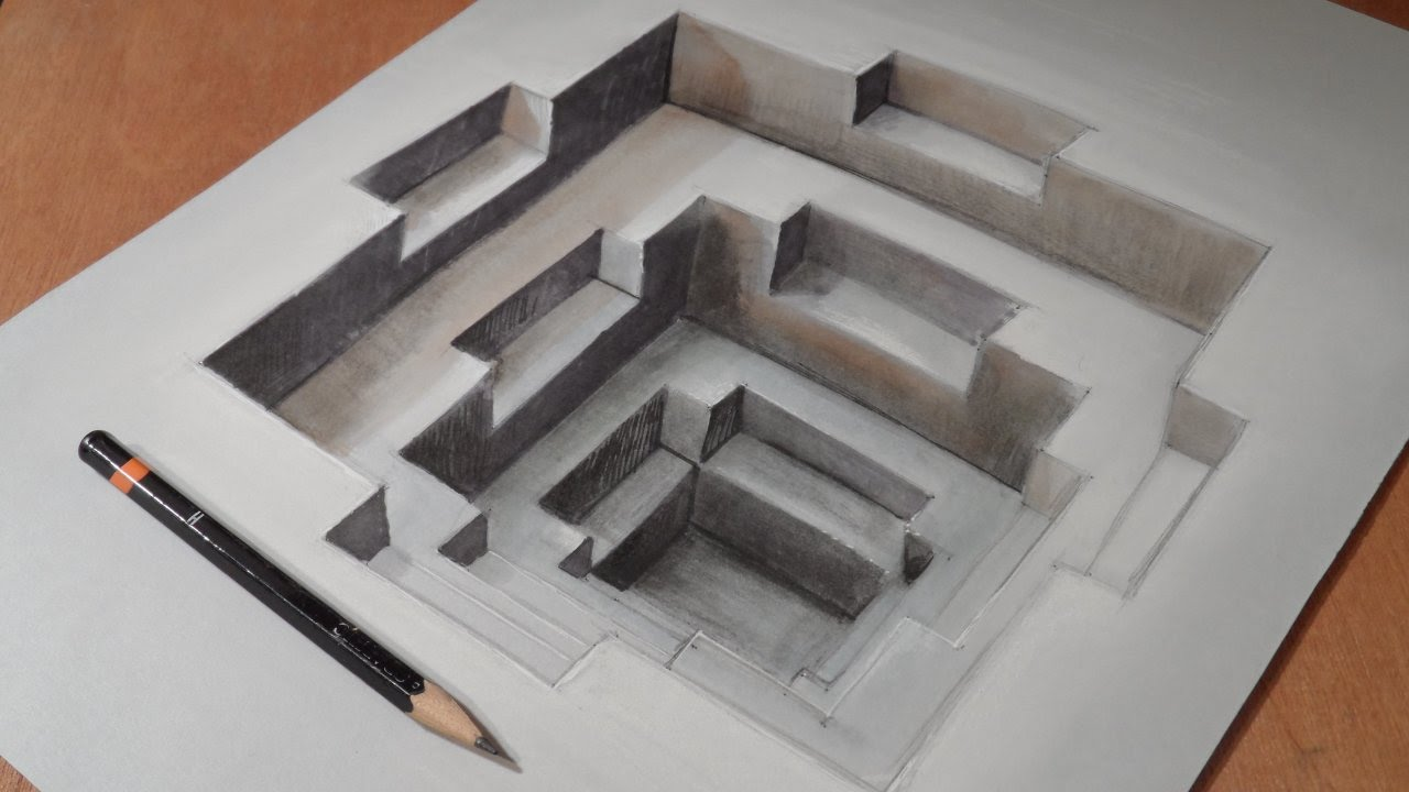 Drawing awesome 3d hole long version youtube