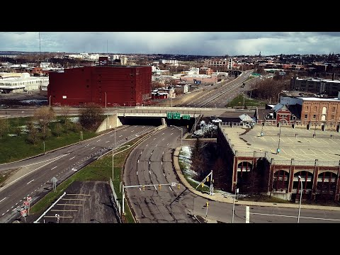 Above the empty streets of Syracuse during coronavirus pandemic