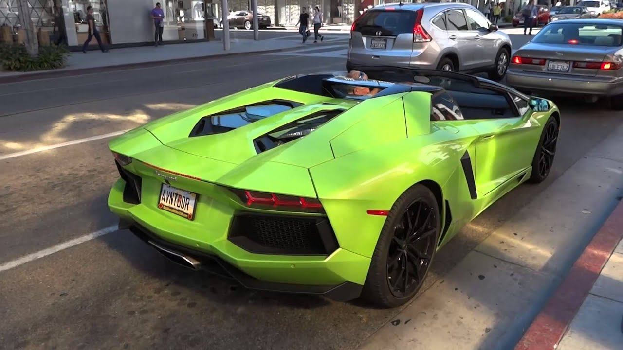 Neon Lamborghini Aventador >> New Lamborghini Aventador Roadster in Beverly Hills - YouTube