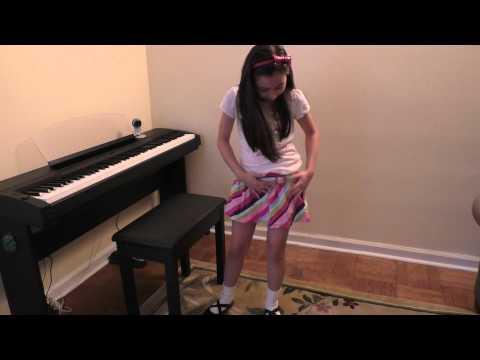 Beautiful Girl Fashion White Shirt & Skirt Playing Piano Alouette