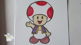 How to draw Paper Mario: Toad [real time]