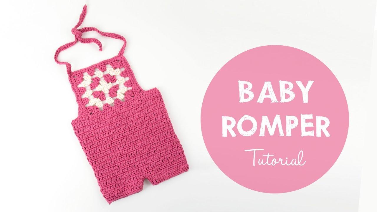 6345b6bc3 Easy Crochet Baby Romper Tutorial - Crochet Granny Square Onesie ...