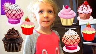 Милана делает кексы и украшает их разноцветными карандашами видео для детей
