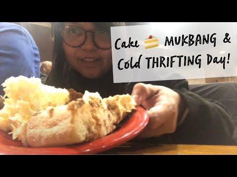 CAKE MUKBANG & COLD THRIFTING DAY