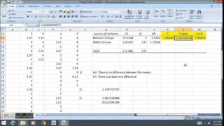 ANOVA differences in means with Scheffe's Method in Excel