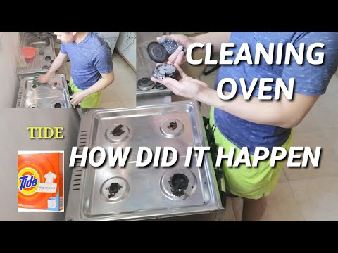HOW TO CLEAN OVEN   WITH TIDE AND BRUSH     ofw day off cleaning oven