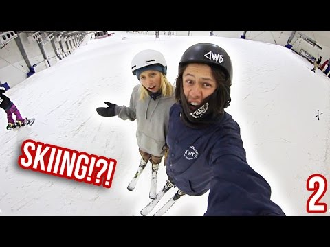 SNOWBOARDERS TRY TO SKI!