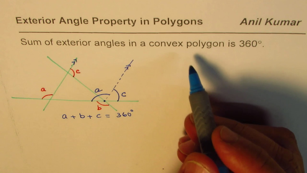 Prove sum of exterior angles in convex polygon is 360 - Sum of exterior angles of polygon ...