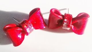 Super Easy Polymer Clay Bow Earring Tutorial