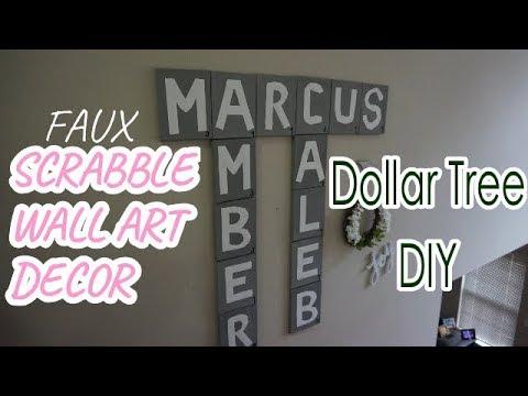 SCRABBLE WALL ART DIY | DOLLAR TREE DIY | Faux Scrabble Tiles