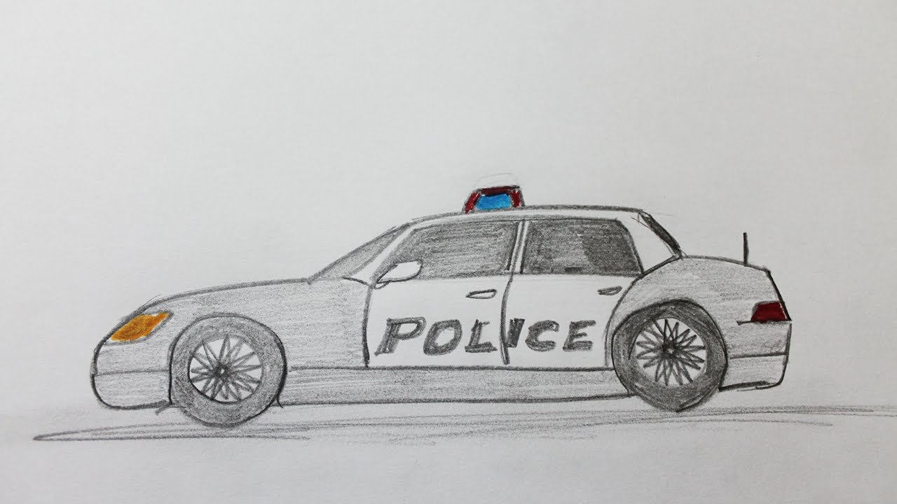 comment dessiner une voiture de police youtube. Black Bedroom Furniture Sets. Home Design Ideas