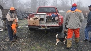 3 Rabbit Hunters Go Hunting With Their Dogs At Highland Hill Farm