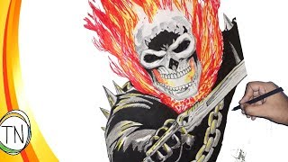 Drawing Ghost Rider aka Johnny Blaze (comic version) with time-lapse || Trinankur Neogi