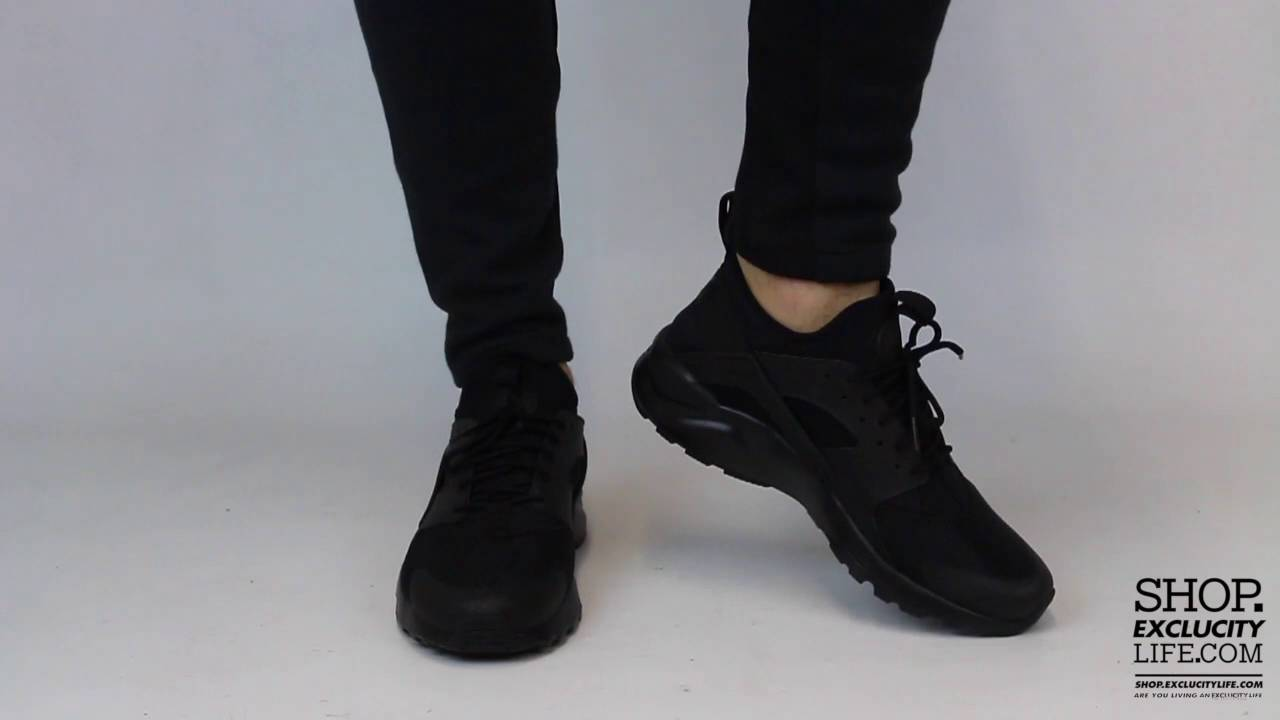 Nike Huarache Ultra BR Triple Black On feet Video at Exclucity