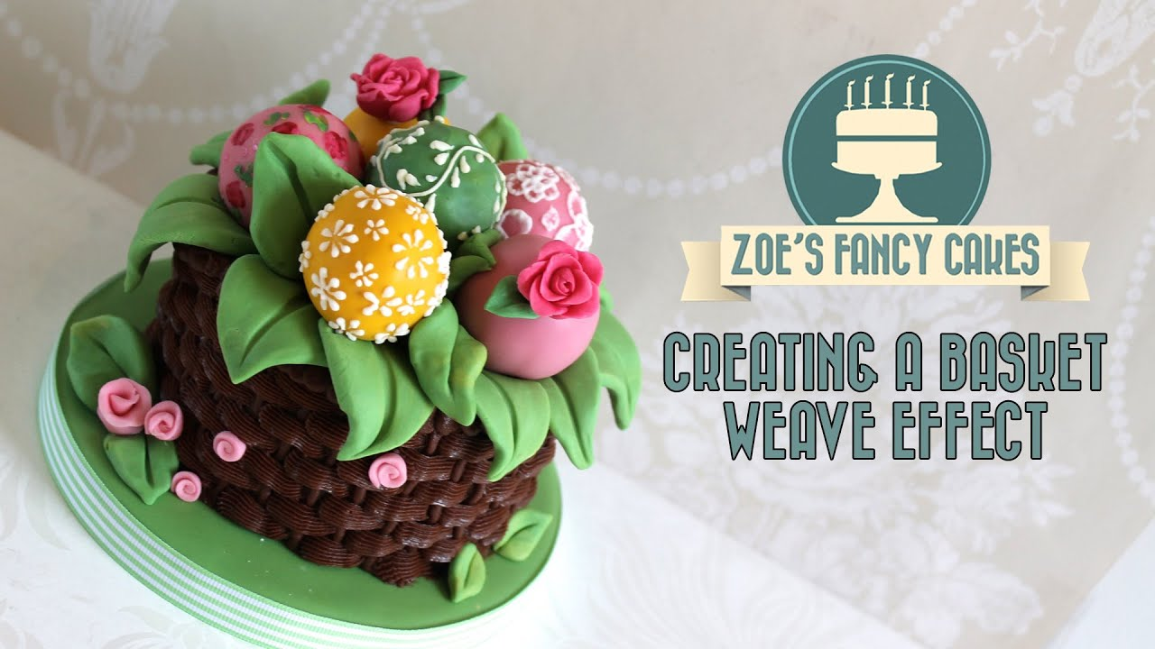 How To Make A Basket Of Flowers Cake : Piping bag basket weave effect on a cake decorating