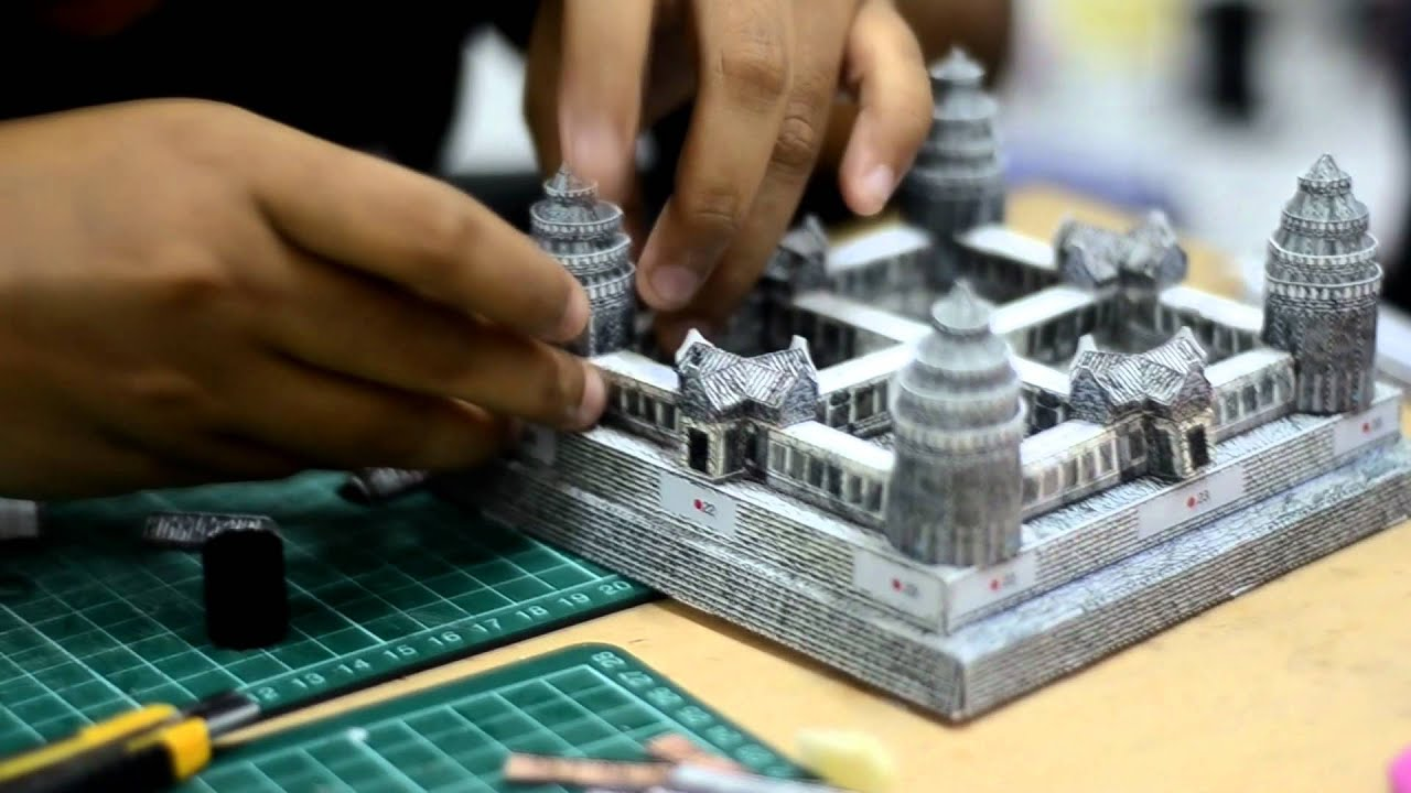 Angkor wat model making youtube for How to make paper temple