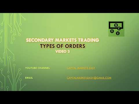 Types Of Orders - Secondary Markets Trading - Video 3