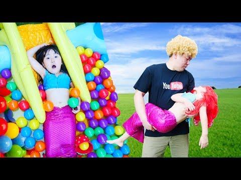 変身ごっこディズニー プリンセスアリエル人魚姫を救い | はねまりチャンネル・HaneMarisWorld