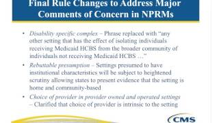 WEBINAR: Implications of HCBS Final Rule on Non Residential Settings