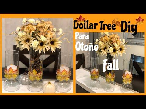 Dollar tree DIY centro de mesa y candelabros para otoño en colaboración